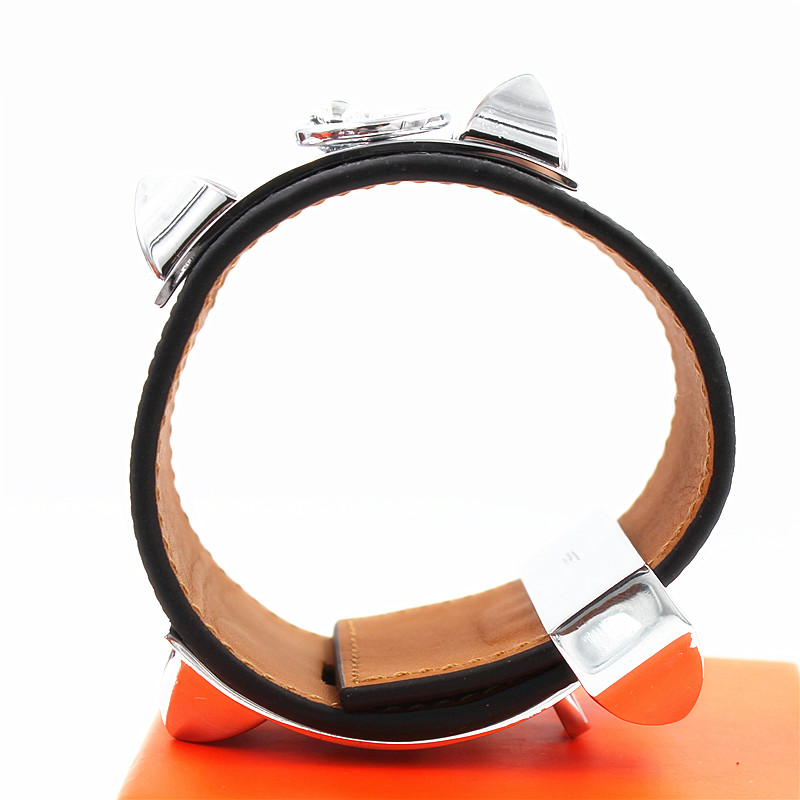 Top Quality Genuine Leather H Bracelets Wide punk Leather Bracelets and Bangles for women men Wrap bracelet jewelry Declaration