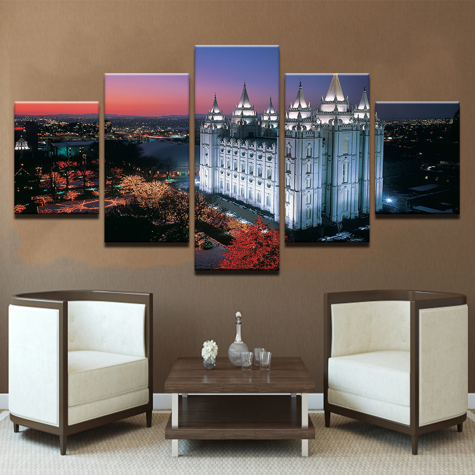 Canvas Hd Prints Poster Home Decor No Frame 5 Pieces Salt Lake City S Temple Square Paintings For Living Room Wall Art Pictures In Painting Calligraphy