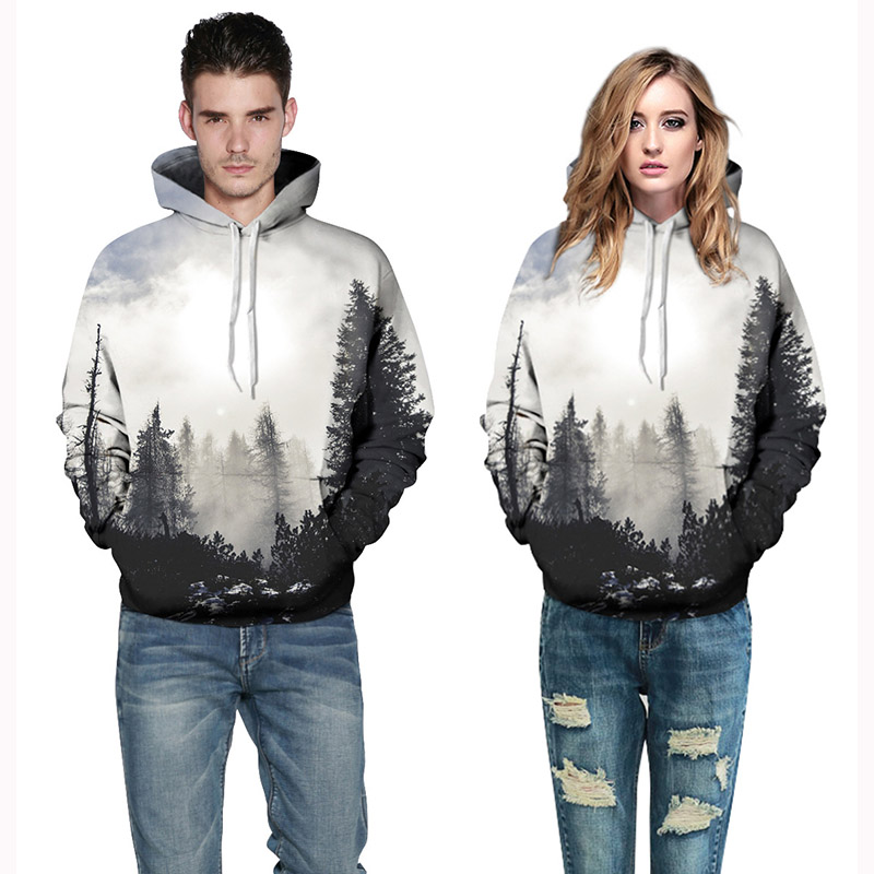 Hoodies Sweatshirt Unisex Retro Printed Digital Forest Hoodies Autumn Winter Women/Men Casual Loose Hooded Plus Size