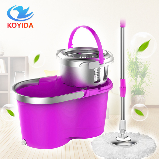 koyida portable magic spin mop bucket doubledrive hand pressure rotating spin mop head stainless