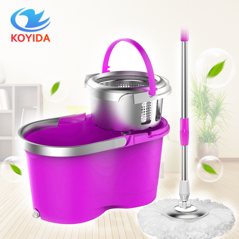 KOYIDA Portable Magic spin <font><b>Mop</b></font> bucket double-drive hand pressure rotating spin <font><b>Mop</b></font> head stainless household floor cleaning