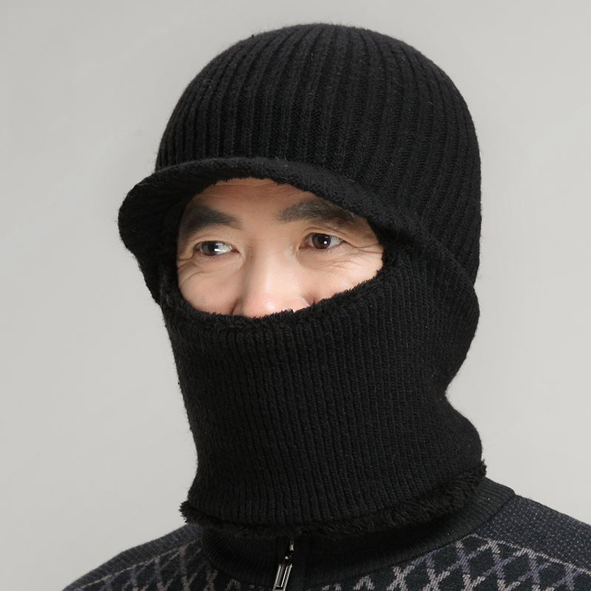 Dad Hat Winter Snow Men Balaclava Hat Muslim Skullies Beanies Wool Knitted Earflaps Windproof Thermal Plush Wide Brim Cap skullies