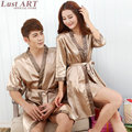 Men women homewear robe gown set 2016 new spring fashion silk wedding robes ladies elegant sleepwear robe male AA170