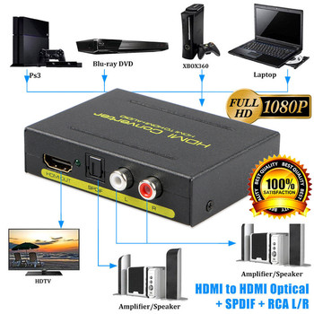 HD 1080P HDMI to HDMI Optical SPDIF RCA L/R Extractor Converter Audio Splitter Hdmi Converter Adapter for PS3 Computer HDTV image