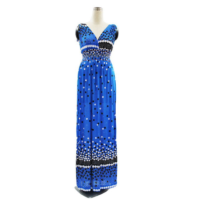 Summer Women Long Retro Bohemian Maxi V-neck dot Printed Modern Elegant Beach Dress.