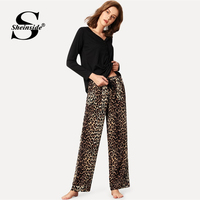 Sheinside Black Button Cotton Top & Drawstring Leopard Print Sleeping Trousers Pajama Sets Women Spring Sleepwear Top & Pant