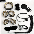 Adult Games Sex Bondage 8pcs/Set Leather Handcuffs Gag Whip Mask Erotic Toy Fetish Adult Sex Restraints Sex Toy For Couples