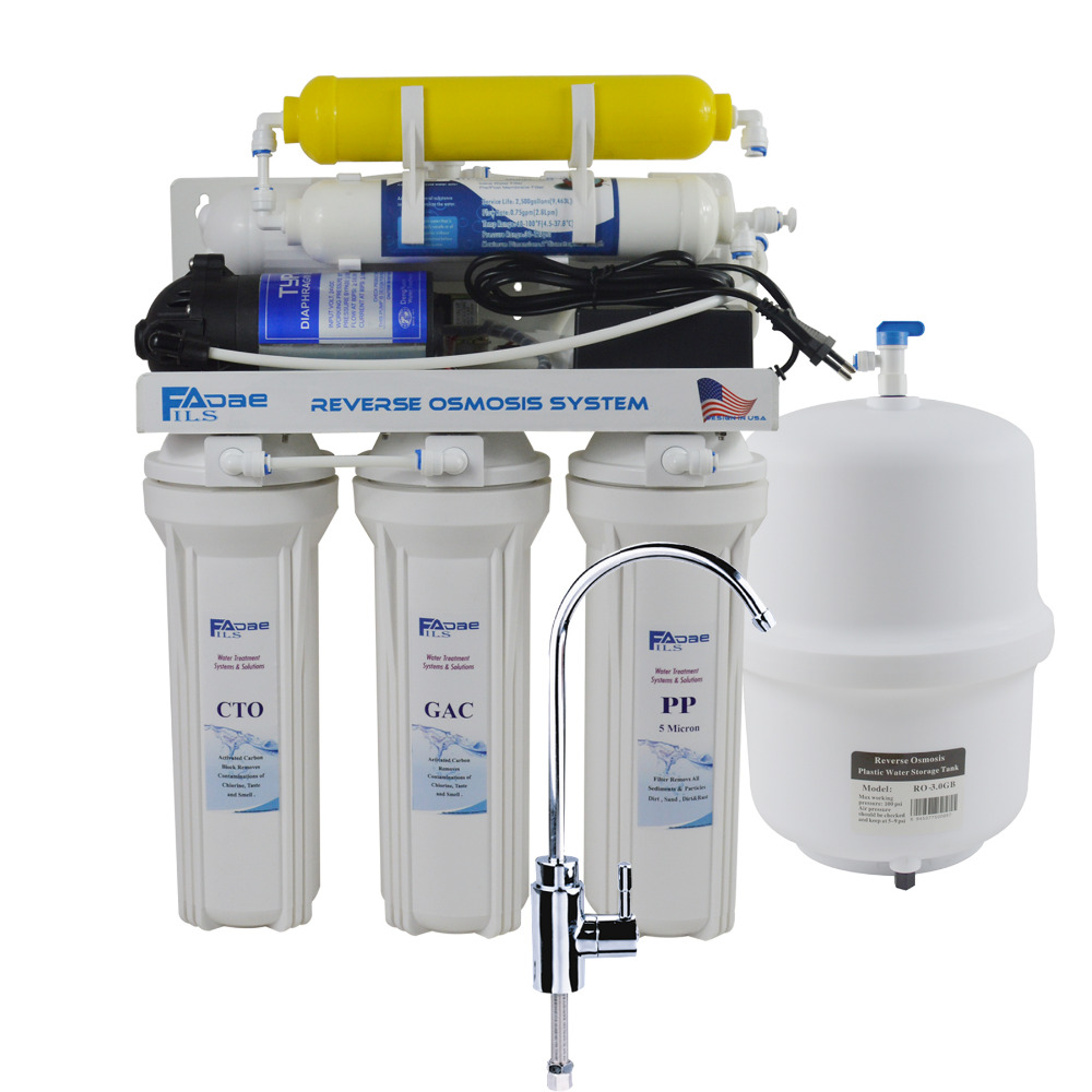 6-Stage Residential Under-Sink Reverse Osmosis Drinking Water Filtration System with Remineralization Filter/100-240V - 50GPD дверь для шкафа delinia графит 80x35 см мдф плёнка пвх цвет графит