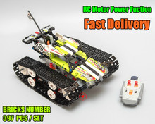 Купить с кэшбэком 20033 Technic RC TRACKED RACER Building Block Electric Motor Power Function Model 42065 Compatible With lego kid gift set