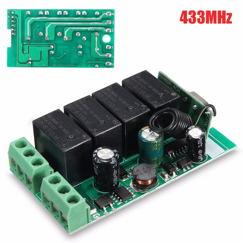 220V 4 Channel Wireless Relay RF Remote Control Switch DC 12V Relay Switch 433MHz