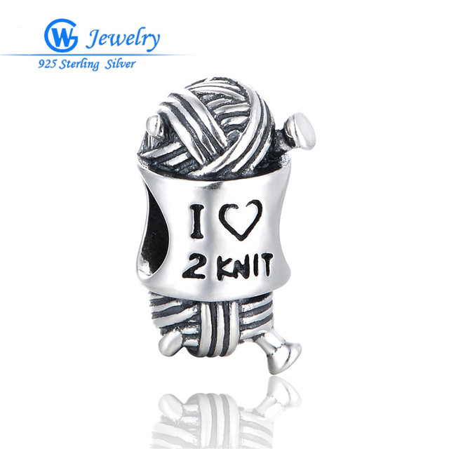 GW Fine Jewelry Genuine 925 Sterling Silver  I Love to Knit Charm with Diy Beads Fits European Bracelets T073H10