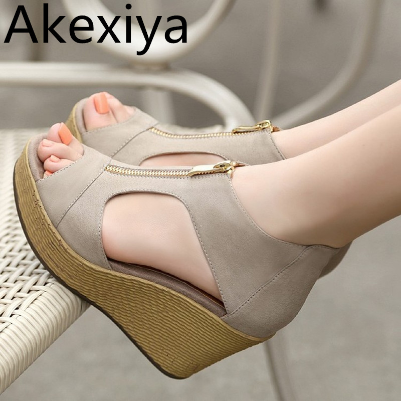Akexiya 2017 New Style Sandals Woman Summer Platform Wedges Vintage High Heels Open Toe With Zippers Sandalias Zapatos Mujer akexiya mesh wedges sandals summer gladiator sandals platform shoes woman slip on creepers slippers gold silver slides