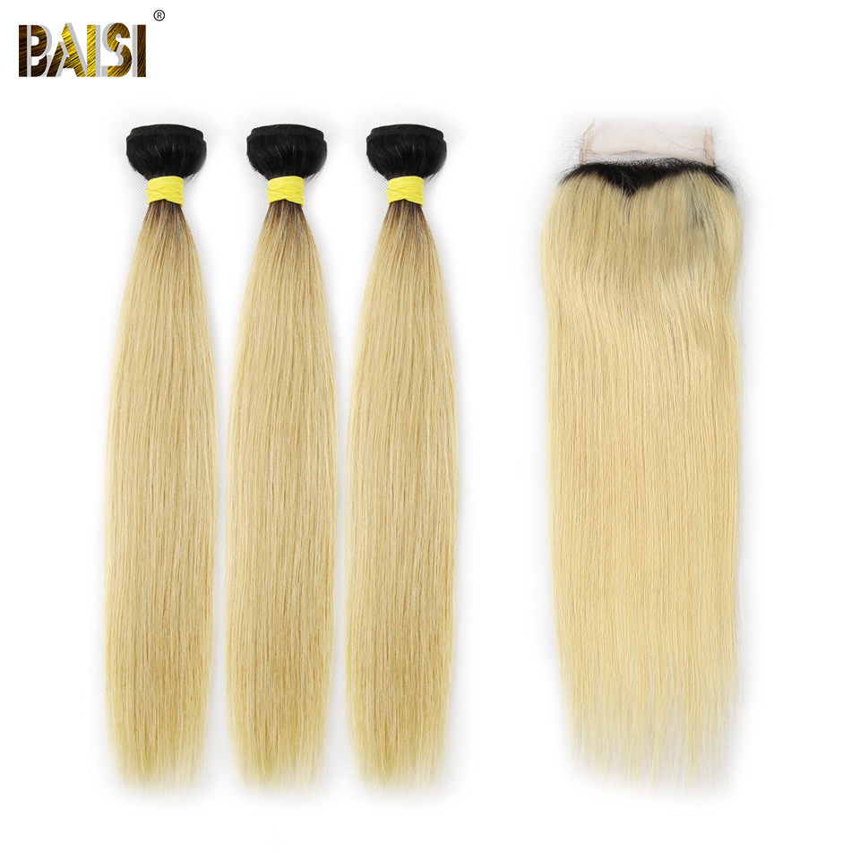 BAISI Hair Peruvian Virgin Hair 1B 613 Blonde Straight Hair Weave 3 Bundles with Closure 100