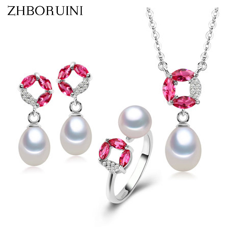 ZHBORUINI 2017 Hot Sale Pearl Jewelry Sets Natural Pearl Necklace Earrings Ring 925 Sterling Silver Jewelry Set For Women Gift
