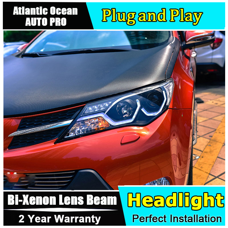 Auto part Style LED Head Lamp for Toyota RAV4 led headlight 2013-2015 for RAV4 drl H7 hid Bi-Xenon Lens angel eye low beam headlight for kia k2 rio 2015 including angel eye demon eye drl turn light projector lens hid high low beam assembly
