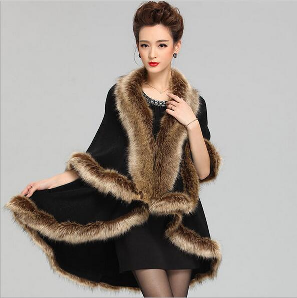 Women party overcoat cloak high quality winter imitation raccoon fur collar knitted cardigan cape cashmere poncho shawl AS-33
