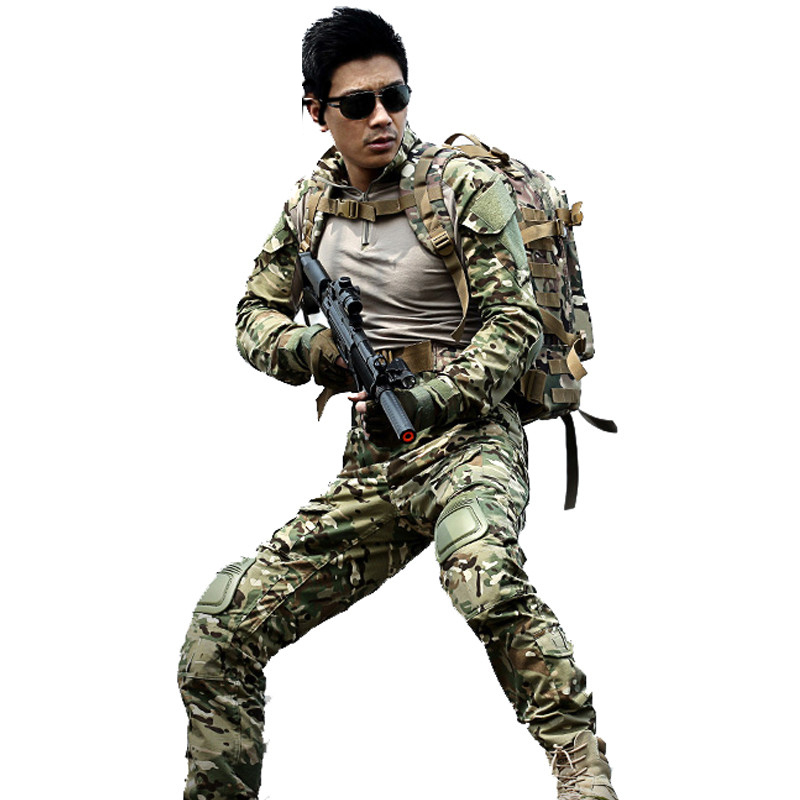 Military Tactical uniform multicam Hunt army combat shirt uniform pants with knee pads camouflage hunting clothes Ghillie suit 72 inches and the authenticity of the tripod white plastic screen projector projector screen
