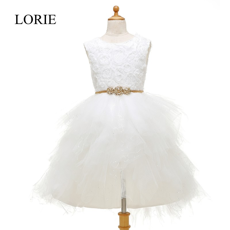 Vestidos Primera Comunion 2016 White Lace   Flower     Girl     Dresses   For Weddings First Communion   Dresses   For   Girls   With Gold Sash