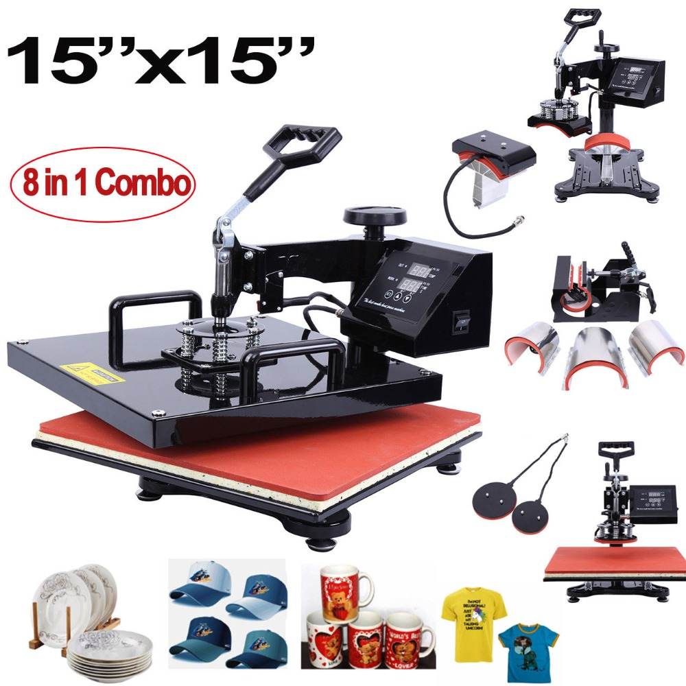 8 In 1 15x15 Inch Heat Press Machine Sublimation Machine For T-Shirt Mug Plate Cap 38x38cm
