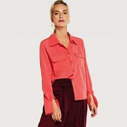 2018 лето-осень карман Повседневное элегантная рубашка Для женщин с длинным рукавом отложной воротник Однобортный свободные дамы блузка