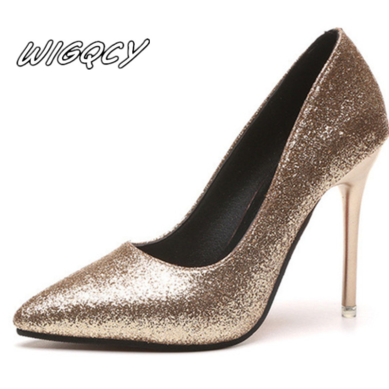 High-Heeled Shoes Glitter Spring Bridesmaid Pointed Gold Silver-Fine with S019 Mujer