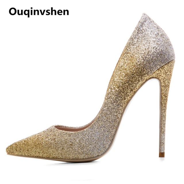2560ad9a707 Ouqinvshen Light Gold Womens Shoes Heels Pointed Toe Classics Thin  Plus-Size 33-45 Women Pumps Mary Janes Ultra High Heels 12CM