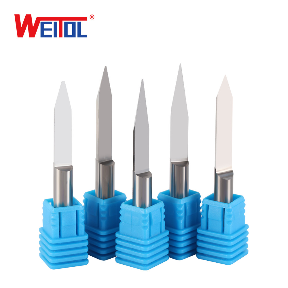 WeiTol 1PCS 6mm Shank Metal Flat Bottom Engraving Bit PCB End Mill Carbide Carving Cutters 50MM OVL