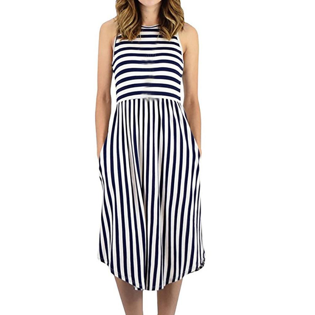 Women Easy Stripe Sleeveless Pocket Round Collar Dress Sundress Bohemian Summer Holiday Beach Elegant Slim Knee Dresses