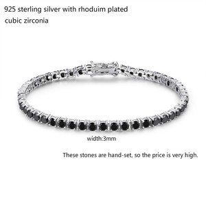 Image 2 - 3mm 925 Sterling Silver Cluster Round Black CZ Ziron Tennis Bracelets Pulseras Pulseira Bracelete Women Jewelry Girl Friend Gift