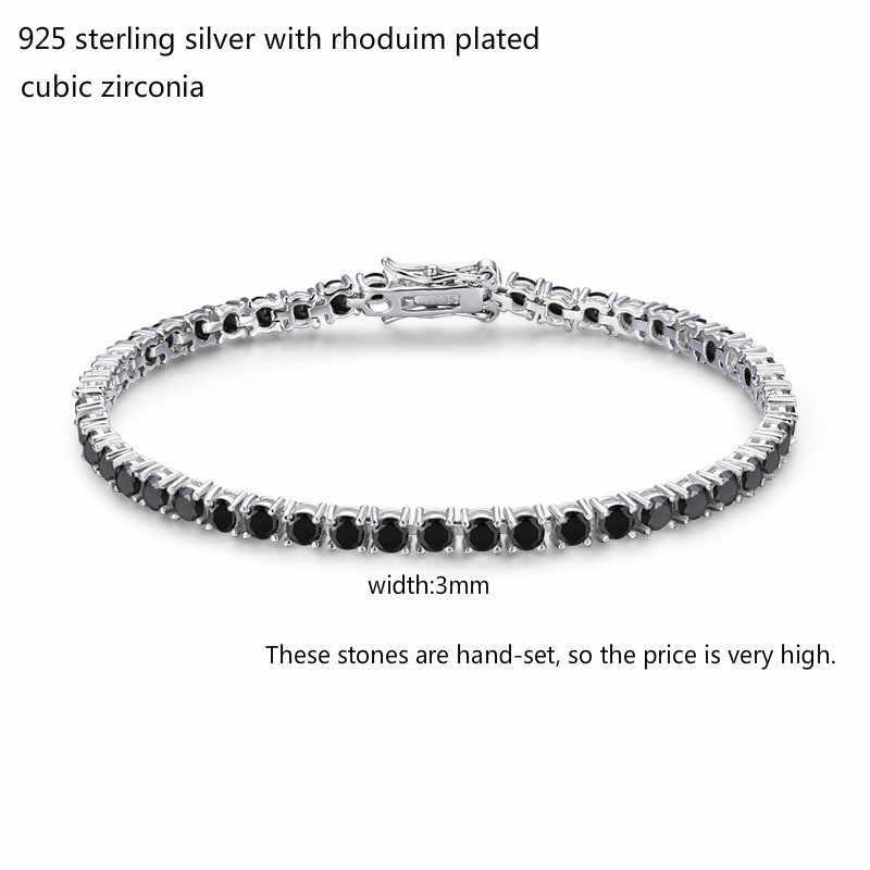 3mm 925 Sterling Silver Cluster okrągły czarny CZ Ziron bransoletki tenisowe Pulseras Pulseira Bracelete kobiety biżuteria dziewczyna prezent dla przyjaciela
