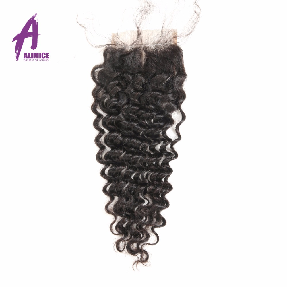 Alimice Hair Brazilian Deep Wave Closure 150 Density 4x4 100 Human Hair Lace Closure Free Middle