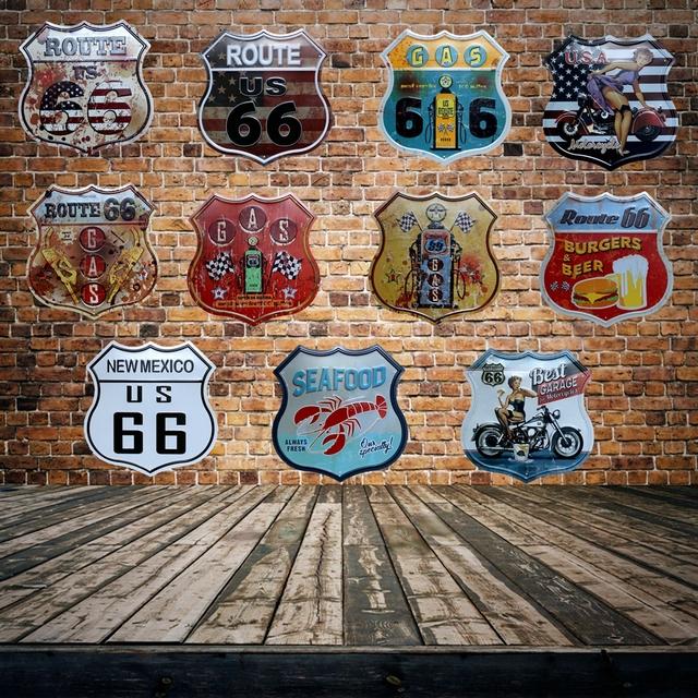 Plaque métal Vintage Route 66