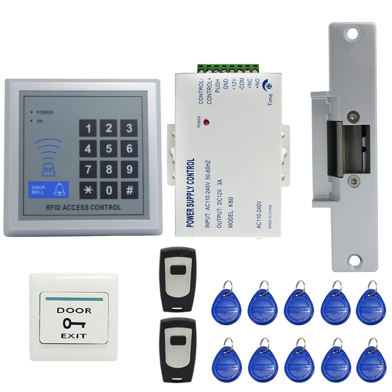 FREE SHIPPING RFID Door Access Control System Kit Set +Strike Door Lock +Rfid Keypad + Power +Exit Button + 2 Remote controller