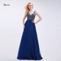 Finove Mother of the Bride Dresses Modest Dark Blue Floor Length 2018 New Style V Neck A Line Sleeveless Beading Chiffon Dresses