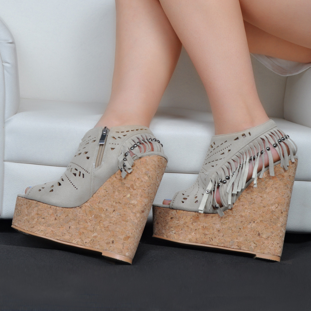ФОТО Summer Chinese Tassel  ladies shoes women peep toe platform wedge heels Sandals  big size plus size shoes with tassel 2016051604