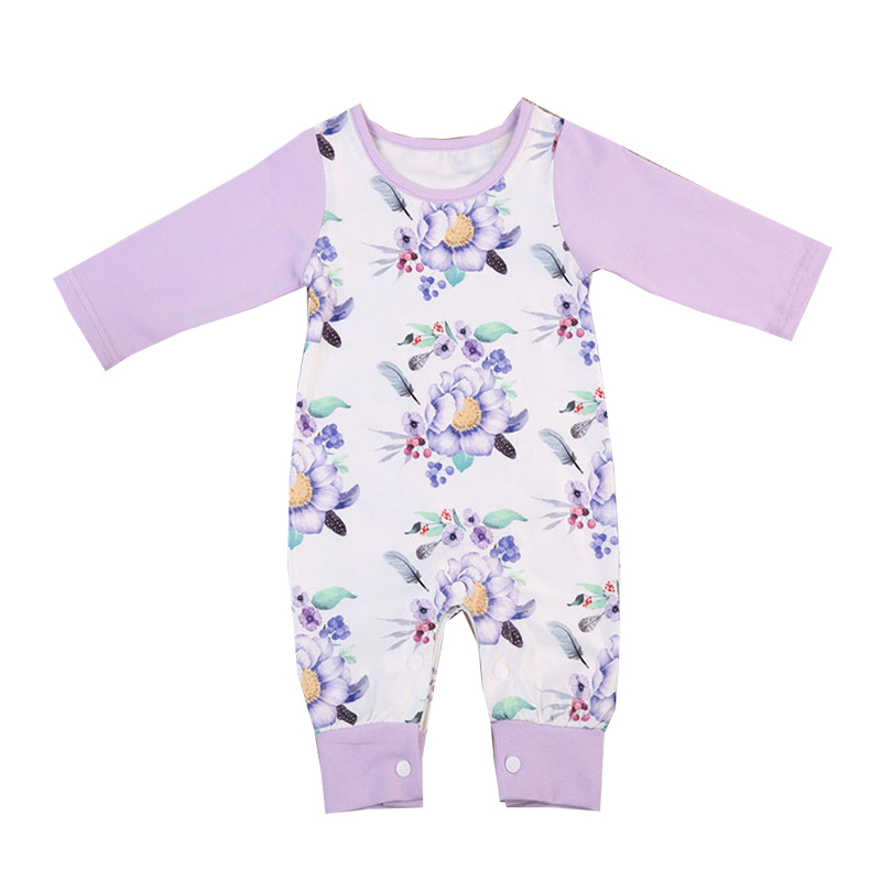 2018 Baby Girl Rompers Baby Onesie Long Sleeve Floral Romper Violet Toddler Romper Toddler Jumpsuit Baby Girl Clothes 6 Months