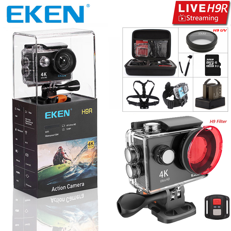 Original EKEN H9 H9R Ultra HD 4 K 25fps Cámara 30 m resistente al agua 2-pulgadas de pantalla LCD Wi-Fi remoto estilo Gopro Cámara de los deportes