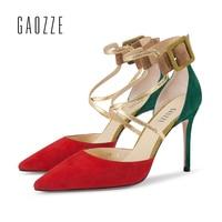 Красные овцы замшевые женские кросс ремни острый носок пикантные стилеты на высоком каблуки 9 см пряжки моды женская обувь на праздник