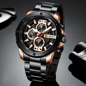 Image 5 - Curren Heren Horloges Top Brand Luxe waterdichte Mode Quartz Man Horloges Rvs Chronograaf Horloges Man 2019