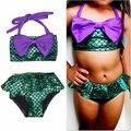 2PCS Girl Kids Mermaid Tail Swimmable Bikini Set Bathing Suit Fancy Costume Gift