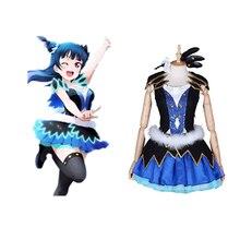 цена Love Live Sunshine Cosplay Tsushima Yoshiko Cosplay Costume WATER BLUE NEW WORLD Cosplay Costumes Halloween Carnival Cosplay в интернет-магазинах
