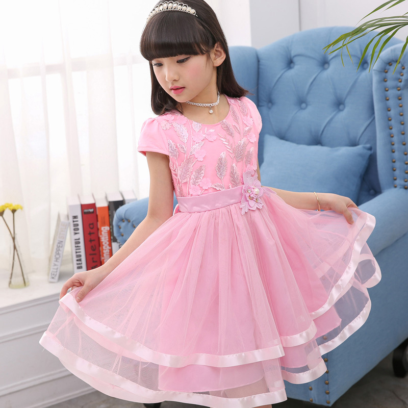 Fashion Teenage Girls Lace Dresses Summer Kids Dresses For Girls Clothes Fashion Girl Embroidery Princess Birthday Party Dress 3