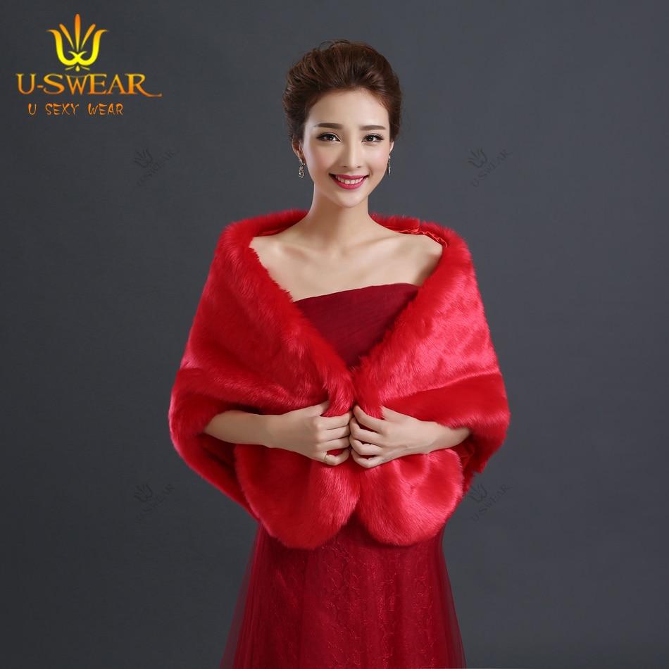 Bolero Rouge Mariage dedans de mariée de luxe vestes de fourrure bolero mariage wrap rouge