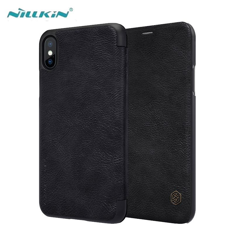 For iPhone X Leather Case Luxury Ultra Thin PU Leather Flip Cases Cover For Apple iPhone X With Card Slot NILLKIN Qin Series