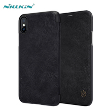 For iPhone X Leather Case Luxury Ultra Thin PU Flip Cases Cover Apple With Card Slot NILLKIN Qin Series