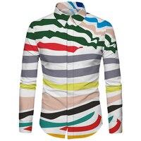 Cloudstyle Men Shirt 3D Print Wave Stripe Fashion Slim Fit Dress Casual Hawaiian Shirt Chemise Homme Brand Clothing Social Shirt