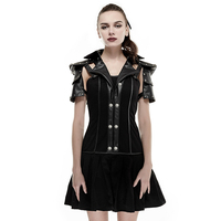 Steam Punk Black Women's Military Uniform Dress Cosplay Party Sexy Detachable Dress Women Costume Short Dress