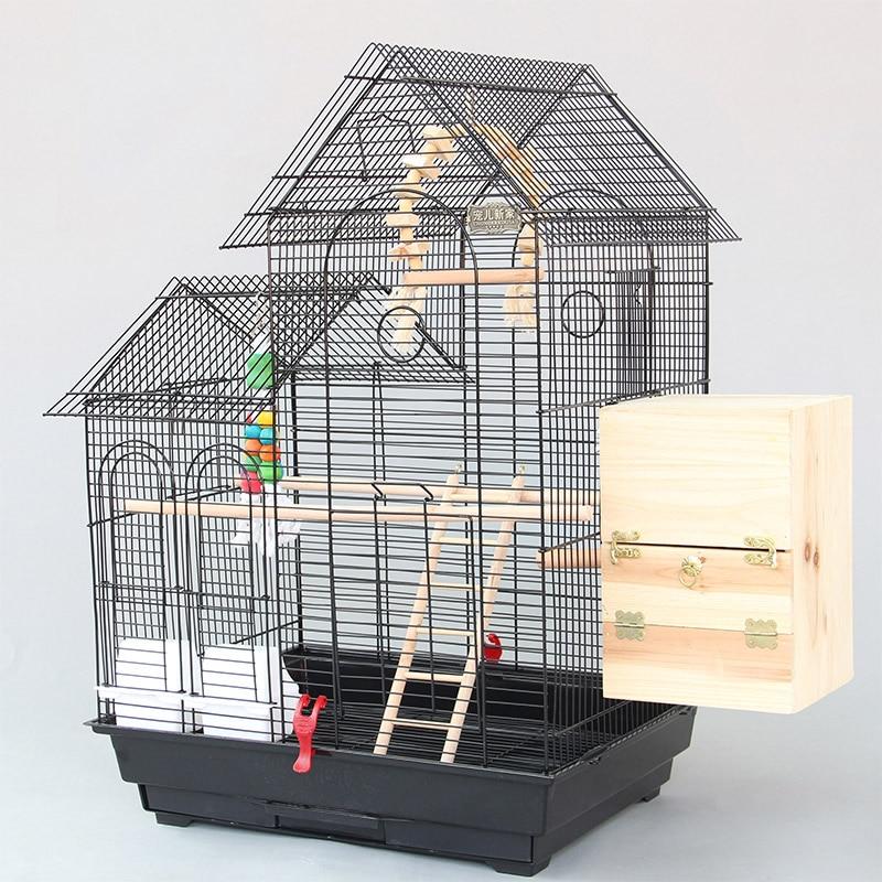 Large <font><b>Roof</b></font> <font><b>Design</b></font> Bird Cages Houses Metal Iron Parakeet Cockatiel Parrot Cage Birds Aviary Pet Carrier A13