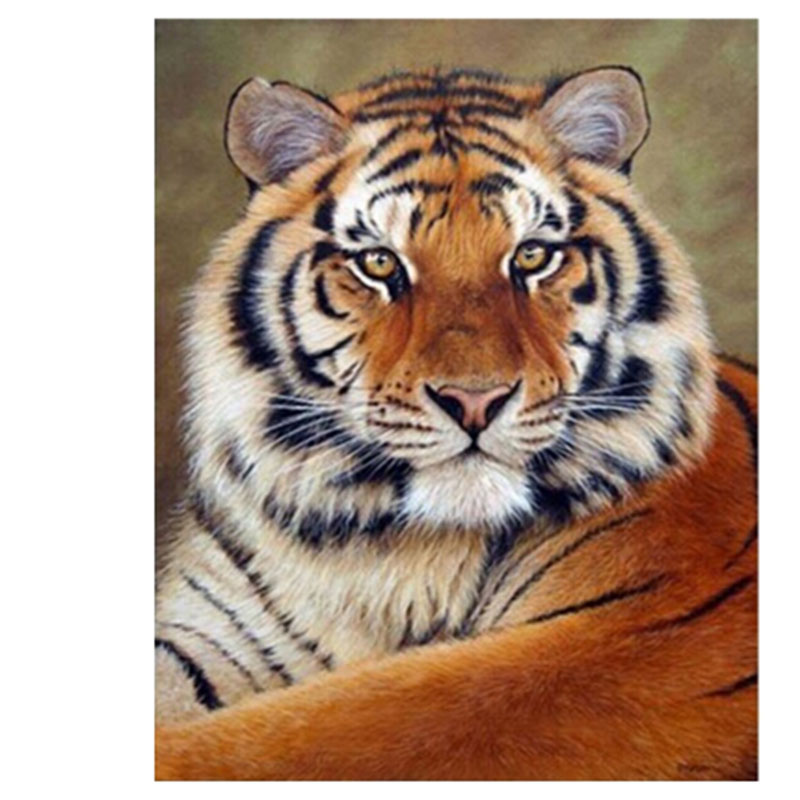 Beauty Life New round Diamond painting cross-stitch King Tiger Animals Diamond embroidery cross picture of crystals Craft hobby