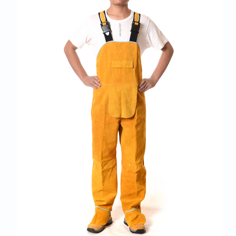 Welding Overalls Protective Clothing Cowhide Split Leather Flame Retardant Safety Clothes Wear resistant Welders' Bib Overalls wear resistant cowhide welding leather sleeves of welder clothing with high temperature resistance working safety sleeves g0823